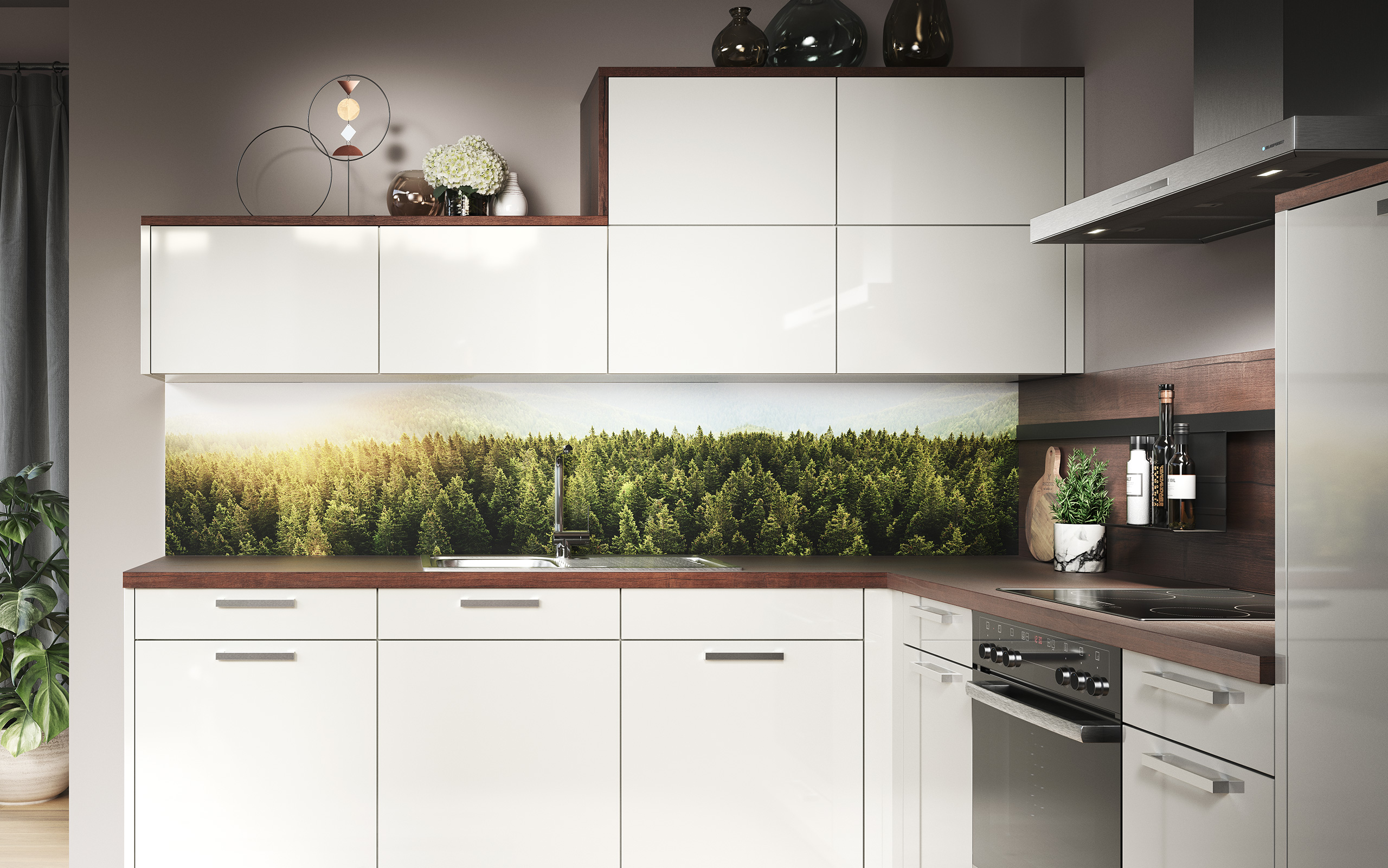 Backsplash panel forest